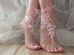 Pink white bridal anklet, beach shoes, bridal sandals, wedding bridal, barefoot sandles, pink sandals, wedding shoes, summer wear, handmade