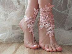Pink white bridal anklet, beach shoes, bridal sandals, wedding bridal, barefoot sandles, pink sandals, wedding shoes, summer wear, handmade