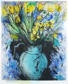 Jim Dine (American, b. 1935) Blue Vase, Yellow Flowers, 1993 etching, photogravure, monotype - hand-painted