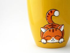 RESERVED for PILI  - Cat - mug - cup - coffee - yellow - orange - hand painted via Etsy