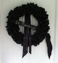 Wreath Mourning Wreath Black Ribbon 18 inch Sympathy In Remembrance In Memorium In Memoriam Love Always 30th Birthday Themes, Birthday Bash, Thirty Birthday, Funeral Party, In Memorium, Black Wreath, Black Ribbon, Black Satin, Matte Black