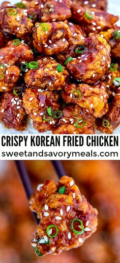 Korean Fried Chicken [Video] – Sweet and Savory Meals Korean Fried Chicken is coated with an addictive homemade Korean sweet chili sauce that is perfectly crunchy on the outside. Give in to your craving anytime with this easy recipe! Korean Fried Chicken, Fried Chicken Recipes, Baked Chicken, Fried Chicken Sauce, Boneless Chicken, Chicken Sweet Chili Sauce, Recipe Chicken, Keto Chicken, Easy Recipes With Chicken