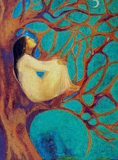 Girl in Tree ~ Susan Boulet   Susan Seddon Boulet (1941-1997) @ www.turningpointgallery.com  More Susan Boulet @ http://groups.google.com/group/FantasyMagie & http://groups.yahoo.com/group/fantasy_forum &   http://groups.yahoo.com/group/A1-Fantasy-Art   https://www.facebook.com/pages/Susan-Seddon-boulet/47280994189