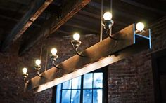 You can see this Rustic Industrial Chandelier with Repurposed Steel Beam and light bulbs, perfect lighting for beams, at Colonie Restaurant in Brooklyn, nice modern farmhouse lighting! Industrial Chandelier, Industrial Light Fixtures, Industrial Lighting, Rustic Industrial, Chandelier Ideas, Pendant Lighting, Modern Chandelier, Shabby Chic Lighting, Rustic Lighting