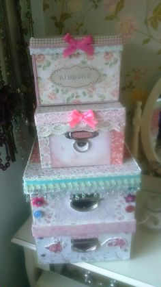 I love crafting and for all my crafting bits and pieces,I wanted storage that would look pretty in my bedroom. So I covered and embellished some plain boring old boxes i had. I think they look so much better and fit in well with my shabby chic look in my bedroom .