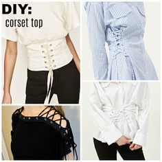 DIY Corset Top 2019 The lace up trend is a fun detail and easy update to do on an oversized/boxy t-shirt like I did into a corset top. Try th The post DIY Corset Top 2019 appeared first on Lace Diy. Trash To Couture, Diy Corset, Corset Shirt, Diy Kleidung Upcycling, Diy Fashion, Fashion Design, Fashion Trends, Fashion Ideas, Diy Clothes Refashion