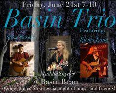 June 21st • 7-10pm • Steve Geraci, Maddie Snyder, Emma Lane • Basin Bean Café • At the Canal Walk, Bushnell Basin, Pittsford, NY