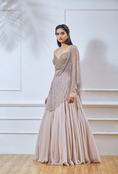Dusty pink georgette lehenga with attached net embellished dupatta & jute flower embellished blouse. Designer Bridal Lehenga, Bridal Lehenga Choli, Pink Lehenga, Lehenga Wedding, Lehenga Saree, Indian Wedding Outfits, Indian Outfits, Indian Clothes, Indian Attire