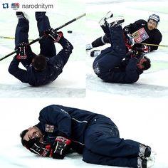 Jaroslav Spacek #AC  #CZE  #WC2016  rolling on the ice during skate as form of punishment - a geat team that skates together, plays together  Jaroslav Špaček se na dnešním tréninku dobře bavil  #CCM #MadeOfHockey