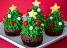 cupcakes de arboles navideños.