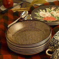 china, plates, Ralph Lauren, table setting, herringbone