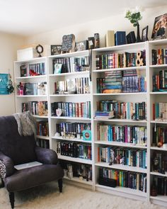 "oh-thebookfeels: ""I apologize for the messy shelves! I'm moving in less than a month. I wanted to show you my new reading chair though!! (Family friend gave it to me!) bookstagram 