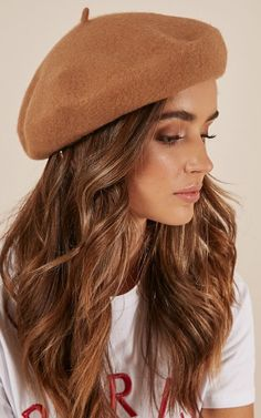 Free People Beret Hat Tan Oversized Boiled Wool Slouchy O//S NEW