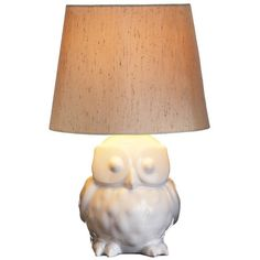 Ceramic+table+lamp+with+an+owl-shaped+base+and+tapered+shade. + Product:+Table+lampConstruction+Material:+Ceramic+an...