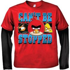 Rovio Angry Birds Can't Be Stopped Boys' 2fer Two-Tone Long Sleeve Graphic Tee T-Shirt, Black