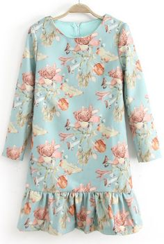 Blue Long Sleeve Floral Print Ruffle Dress - Sheinside.com