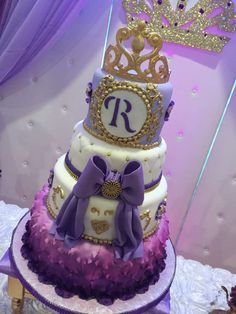 Stunning purple ombre cake at a Sofia the First birthday party! See more party ideas at CatchMyParty.com!
