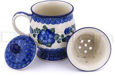 Polish Pottery 10 oz Brewing Mug Pottery Mugs, Ceramic Pottery, Blue Dishes, Blue Poppy, Brewing Tea, Pottery Making, Polish Pottery, Teacups, Cobalt
