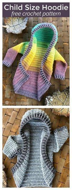 Baby Knitting Patterns For Kids Child Size Hooded Cardigan Free Crochet Pattern Pull Crochet, Crochet Girls, Love Crochet, Crochet For Kids, Hat Crochet, Ravelry Crochet, Crochet Children, Crochet Flower, Crochet Hoodie
