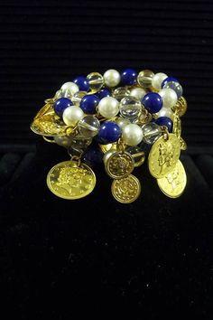 Vintage Blue White Clear Beaded Goldtone Coin Charm Stretch Bracelet Loud Jingle #CharmBracelet