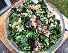 roasted beets and kale salad with lemon -dill tahini dressing | Dishing Up the Dirt
