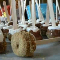 i make these for the boys' birthday parties. Usually have to kick the adults away from them :) who doesnt love chocolate covered marshmallows rolled in candy/nuts? Yummy Treats, Delicious Desserts, Sweet Treats, Dessert Recipes, Yummy Food, Dessert Ideas, Yummy Recipes, Chocolate Covered Marshmallows, Marshmallow Pops