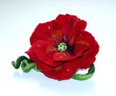 Felted Poppy Flower, Poppy Brooch, Red Poppy Brooch, Felted Poppy, Art Poppy, Sophisticated Poppy Brooch