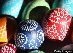 Painted Easter eggs sit on display for sale at the annual Sorbian Easter market on March 16, 2013 in Schleife, Germany. Easter is a particularly important time of year for Sorbs, a Slavic minority in eastern Germany, and the period includes the tradition of painting Easter eggs that include visual elements intended to ward off evil. Many Sorbs still speak Sorbian, a language closely related to Polish and Czech. (Photo by Adam Berry/Getty Images)