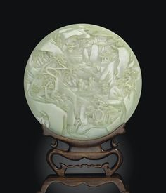 (Qing) A pale celadon jade circular table screen. Chinoiserie, Lapis Lazuli, China Art, China China, Asian Art Museum, Circular Table, Antique Jade, Jade Pendant, Ancient Artifacts
