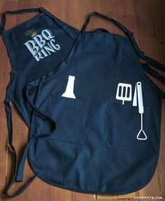 DIY Father's Day BBQ Aprons.. can be cut out by hand or use a cricut, she has the files at the site.