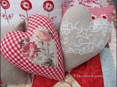 Fabric hearts & lace