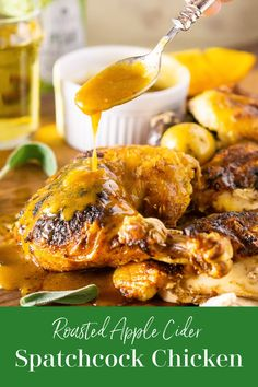 This roasted apple cider spatchcock chicken is the perfect fall meal. Covered in warm fall spices, this chicken is spatchcocked for quicker, more even roasting and is finished with a delicious apple cider gravy. #spatchcock #spatchcockchicken #spatchcockchickenrecipe #ovenroastedchicken | recipesworthrepeaitng.com Spatchcock Chicken, Oven Roasted Chicken, Chicken Meals, Chicken Recipes, Paprika Potatoes, Roasted Apples, Gluten Free Chicken, Apple Cider, Fall Recipes