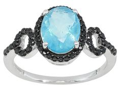 Marico(Tm) Blue Ethiopian Opal .95ct With Black Spinel .30ctw Sterling Silver Ring