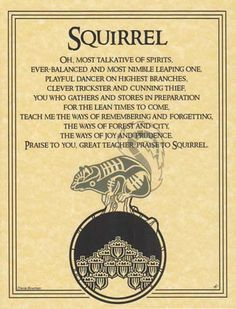 """This parchment poster offers a prayer to the spirit of the Squirrel , celebrating the nimble little creature and all that it has to teach us. Size: 8 1/2"""" x 11"""""""