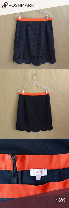 """Stitch Fix Pixley Stacey Scallop Hem Cut Out Skirt In great preo-owned Pixley laser cut skirt. Size medium. Orange waist band with navy blue bottom. Pretty laser cut design in the front with solid back. Zipper and hook closure on the back. Measurements: 15.5"""" waist, 19"""" hips, 19"""" length. Made of polyester and spandex. No trades. Pixley Skirts"""