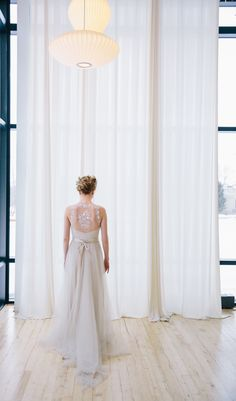 2014 Wedding Trends | Dramatic Backs | We love this illusion back | BHLDN Onyx Gown in champagne
