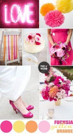 fuchsia wedding colors,fuchsia wedding color palette,summer wedding colors palettes,fuchsia yellow orange summer wedding,summer wedding colo...