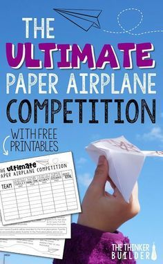 Wind down the school year with The Ultimate Paper Airplane Competition! Blog post with details, free printables, and lots of photos. (The Thinker Builder)