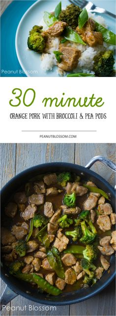 30 minute pork tenderloin stir fry. Orange sauce with broccoli and pea pods. Great family-friendly recipe that is gluten free and paleo friendly if you skip the cornstarch. Yum.