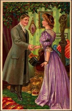 Vintage Post Card New Year Greetings Victorian Couple with Lion Rug