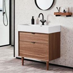 35 Rustic Bathroom Vanity Ideas to Inspire Your Next Renovation - The Trending House Bathroom Basin Units, Small Bathroom, Master Bathroom, Bathroom Sinks, Bathroom Ideas, Mid Century Bathroom Vanity, Shower Ideas, Bathroom Cost, Sink Vanity Unit
