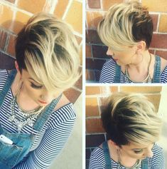 Cute Short Hairstyle for Fine Hair 2016 Short Stacked Hair, Short Hair Cuts, Pixie Cuts, Stacked Hairstyles, Cute Hairstyles For Short Hair, Hair Styles 2016, Curly Hair Styles, Inverted Bob Haircuts, Corte Y Color