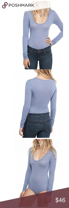 Free People Long Sleeve Cotton Bodysuit StretCHY!!!!!! This Bodysuit is perfect with jeans! The material is Cotton/Polyester/Spandex and the fit is true to size. The sleeves are extra long and fitted on the wrists and also gives a scrunch look as depicted. NWT and size medium Free People Tops