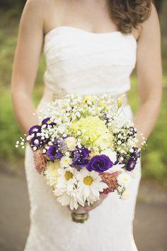 Durham, North Carolina Wedding | Purple, white daisy, and baby's breath bridal bouquet