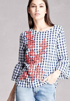 Forever 21 Embroidered Gingham top