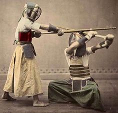 "Kendo, Japanese Fencing (1890s). Kendo (剣道 kendō?), meaning ""Way of The Sword"", is a modern Japanese martial art of sword-fighting descended from traditional swordsmanship (kenjutsu) which originated with the samurai class of feudal Japan. Swordsmen in Japan established schools of kenjutsu (the ancestor of kendo) which continued for centuries and which form the basis of kendo practice today."