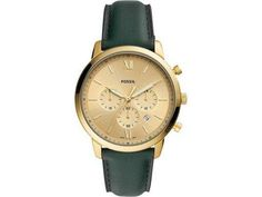 Fossil Men Neutra Chronograph Dark Green Leather Watch - One size Herren Chronograph, Casual Watches, Watches For Men, Popular Watches, Elegant Watches, Wallet Sale, Handbags On Sale, Green Leather, Leather Bracelets