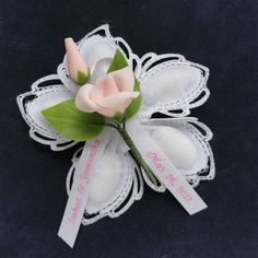 Lovely Aurelia confetti flowers is Choose color of porcelain rose. Ribbon will be printed on white ribbon to match the rose. Jordan Almonds, Communion Favors, Baby Baptism, Plastic Flowers, First Holy Communion, White Ribbon, Confetti, Baptisms, Ribbons