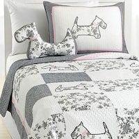 Scottie Pup 3-piece Cotton Quilt Set Patchwork Patterns, Quilt Sets, Dorm Bedding, Shabby Chic Decor, Comforter Sets, Duvet Cover Sets, Decorative Pillows, Quilts, Scottie