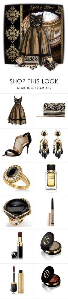 """""""Black and gold Dress!"""" by sarahguo ❤ liked on Polyvore featuring Oscar de la Renta, Ted Baker, Gucci, Allurez, Dolce&Gabbana, Palm Beach Jewelry, By Terry, Chanel and Christian Louboutin"""